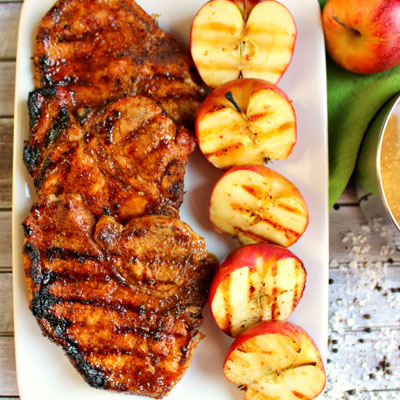 Apple Cider Glazed Pork Chops from delightfulemade.com